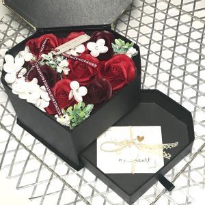 シャボンフラワー ソープフラワー お花ギフト 石鹸 ジュエリーBOX レッド プレゼント|flowernana