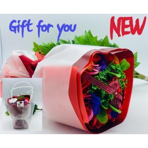 ソープフラワー 花束 花 ギフト プレゼント リボンブーケ  お祝いシャボンフラワーお花ギフト レインボーレッド プレゼント|flowernana