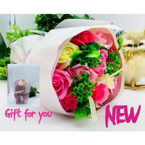 お祝い シャボンフラワー ソープフラワー お花ギフト 石鹸ローズブーケ ピンク プレゼント|flowernana