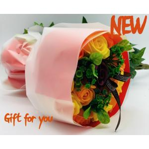 お祝いシャボンフラワー ソープフラワー お花ギフト 石鹸ローズブーケ オレンジ プレゼント|flowernana
