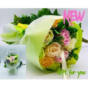 ローズブーケお祝い シャボンフラワー ソープフラワー お花ギフト 石鹸ローズブーケ グリーン プレゼント|flowernana