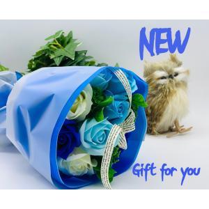 お祝い シャボンフラワー ソープフラワー お花ギフト 石鹸ローズブーケ ブルー プレゼント|flowernana