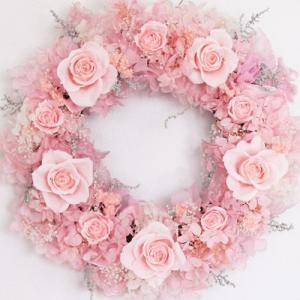 【ギフト】プリザーブドフラワーリース 桜ピンクのリース/結婚祝い/新築祝い/誕生祝い/結婚記念日/プレゼント
