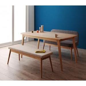 ソファ ダイニング テーブル ベンチ セット / 3点セット(テーブル+ソファベンチ1脚+ベンチ1脚) テーブル幅:W150 北欧 天然木 タモ 4人|flowerrod