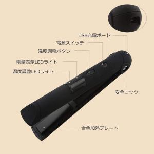 コードレスヘアアイロン ミニ ストレート/カール両用 USB充電式 人気 ホットカーラー 3段階温度調節 高速加熱 軽量 LED電量表示 携 flvffymene