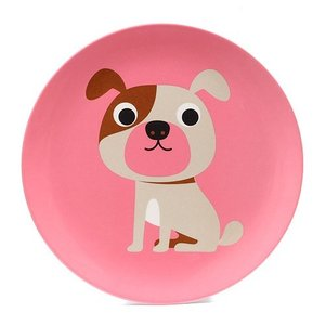 ■ OMM DESIGN MELAMINE PLATE DOG WITH PINK (OMM デザイン メラミン プレート ドッグ ウィズ ピンク)|flyers