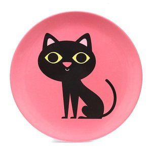 ■ OMM DESIGN MELAMINE PLATE BLACK CAT (OMM デザイン メラミン プレート ブラック キャット)|flyers