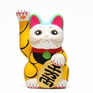 ■ KARAKUSA MANEKI NEKO YALLOW (唐草 招き猫 イエロー 黄唐草)|flyers
