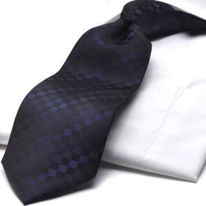 HUGO VALENTINO ネクタイ TYPE-88 紺/ブロックチェック
