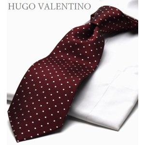 HUGO VALENTINO ネクタイ ブランド シルクTYPE-120-Y/エンジ/ドット