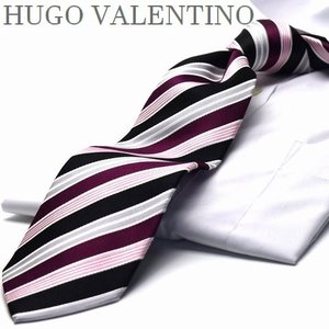 【超ロングネクタイ】 大きいサイズ  長いネクタイ  LL/3L 【エンジ】HUGO VALENTI...