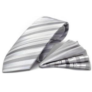 【礼装ネクタイ】【チーフ付ネクタイ】MICHIKO LONDON【グレーフォーマル】ストライプ CPN-167|flyingbluenet|02