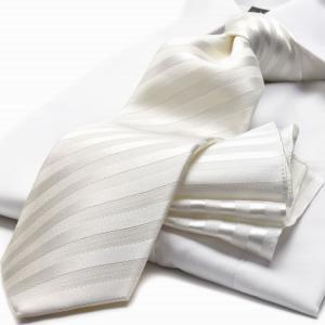 【礼装ネクタイ】【チーフ付ネクタイ】MICHIKO LONDON【ホワイトストライプ】柄結婚式 披露宴 パーティ【CPN-185】【日本製】|flyingbluenet