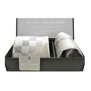 【日本製】【HUGO VALENTINO】 フォーマルCPN-53-Y (ポケットチーフ&ネクタイSET) 結婚式/披露宴/礼装 シルク /プレゼント|flyingbluenet