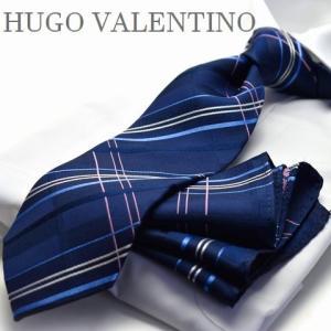 【ポケットチーフ】【HUGO VALENTINOネクタイ】(8cm幅)ネイビー チェック cpn-h-161 flyingbluenet
