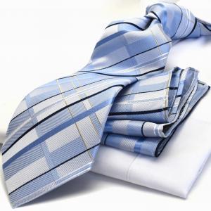 【ポケットチーフ】【HUGO VALENTINOネクタイ】(8cm幅)水色 チェック cpn-h-163 flyingbluenet