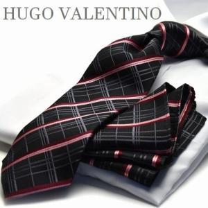【ポケットチーフ】【HUGO VALENTINOネクタイ】(8cm幅)ブラック ピンク チェック cpn-h-165 flyingbluenet