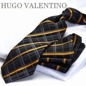 【ポケットチーフ】【HUGO VALENTINOネクタイ】(8cm幅)ブラック イエローゴールド チェック cpn-h-166 flyingbluenet