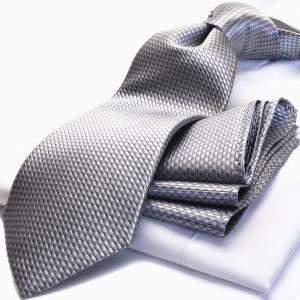 ネクタイ,チーフ HUGO VALENTINO(8cm幅)シルバー/シルバー/ブロック柄 cpn-h-201|flyingbluenet