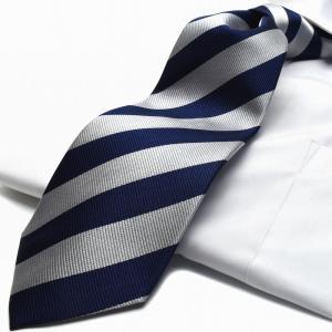 ネクタイ【FLYING BLUE】シルク(100%) flb-200 ストライプ/ネイビー/シルバー|flyingbluenet