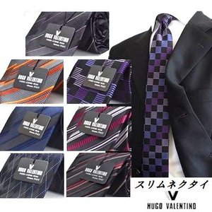 HUGO VALENTINO【351】ジャガードネクタイ ブランド シルク brand slim silk necktie  スリムネクタイ|flyingbluenet