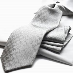 シルバー/グレー/フォーマル/ポケットチーフ&ネクタイSET 慶事用 礼装 結婚式 披露宴 MICHIKO LONDON 日本製 ブランド ミチコロンドン  M-CPN-SET-169|flyingbluenet|02