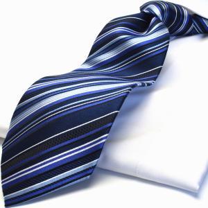 HUGO VALENTINO TYPE-76 ネイビー ストライプ ネクタイ シルク ブランド