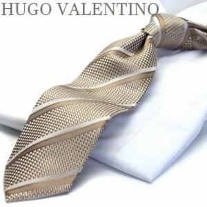 【HUGO VALENTINO】ネクタイゴールド/シルバー/ストライプtype-b-246|flyingbluenet