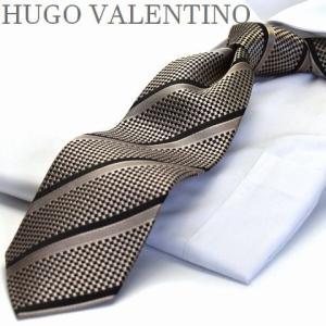 【HUGO VALENTINO】ネクタイ/ベージュ/ブラック/ストライプ/type-b-247|flyingbluenet