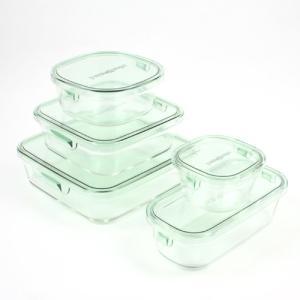 iwaki(イワキ) パック&レンジ(グリーン)角 5種類セット 保存容器 耐熱ガラス flyingsaucer