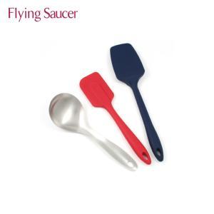 フライングソーサー オリジナル クッキングスプーン+クッキングスパチュラ レギュラータイプ+グランドスプーンタイプ 耐熱300℃ シリコン製 ヘラ|flyingsaucer