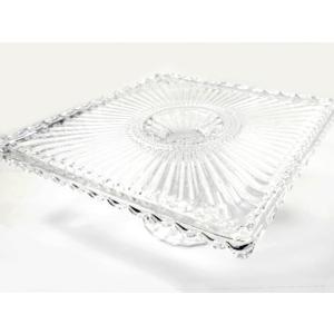 ガラスプレート スクエア コンポート ケーキスタンド ガラス製 インテリ小物 ディスプレイ|fnetscom