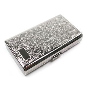 シガレットケース たばこケース アラベスク シルバー スリム 100ミリ 14本用 1-59429-81 ゆうメール送料無料|fnetscom