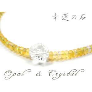 パワーストーン 天然石 宝石質 エチオピアン オパール 水晶 虹色の輝き ネックレス|fnetscom