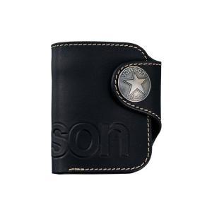 バンソン vanson メンズ 折財布 二つ折りウォレットVP-115-02 ブラック|fnetscom