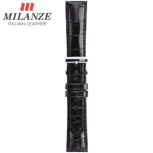 時計バンド 時計ベルト ミランツェ MILANZE 紳士用 クロコダイル 腹 HM 黒 時計際幅20mm 美錠幅18mm 商品コード3638 2|fnetscom