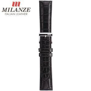 時計バンド 時計ベルト ミランツェ MILANZE 紳士用 クロコダイル 腹 HM つや消黒 時計際幅18mm 美錠幅16mm 商品コード3211 5|fnetscom