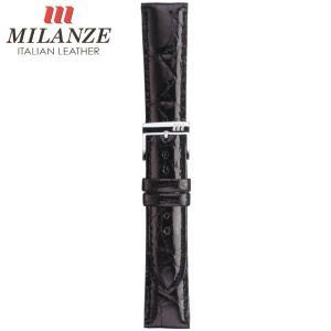 時計バンド 時計ベルト ミランツェ MILANZE 紳士用 クロコダイル サイド WM 黒 時計際幅19mm 美錠幅16mm 商品コード3232 6|fnetscom