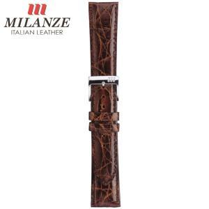 時計バンド 時計ベルト ミランツェ MILANZE 紳士用 クロコダイル サイド WM 茶 時計際幅19mm 美錠幅16mm 商品コード3257 5|fnetscom