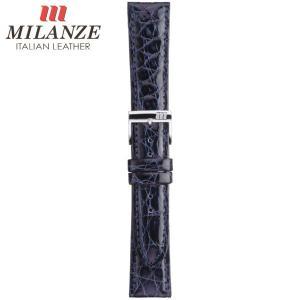時計バンド 時計ベルト ミランツェ MILANZE 紳士用 クロコダイル サイド WM 紺 時計際幅18mm 美錠幅16mm 商品コード3259 4|fnetscom