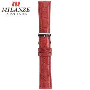 時計バンド 時計ベルト ミランツェ MILANZE 紳士用 クロコダイル サイド WM ワイン 時計際幅18mm 美錠幅16mm 商品コード3262 6|fnetscom