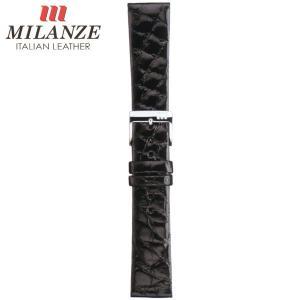 時計バンド 時計ベルト ミランツェ MILANZE 紳士用 クロコダイル サイド WR 黒 時計際幅18mm 美錠幅16mm 商品コード3265 9|fnetscom
