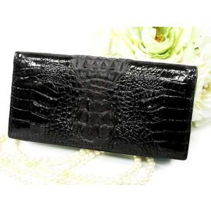 財布 最高級 カイマンクロコダイル長財布 背鰐 艶有り HB ホーンバック SAW-102 ブラック|fnetscom
