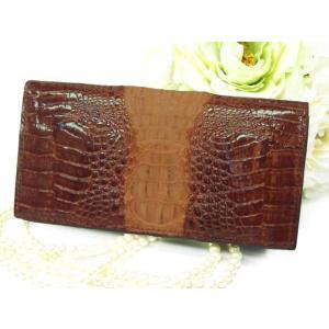 財布 最高級 カイマンクロコダイル長財布 背鰐 艶有り HB ホーンバック SAW-102 ブラウン 送料無料|fnetscom