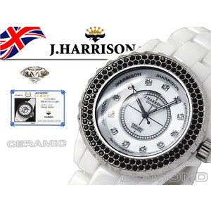 J.HARRISON ジョン・ハリソン 腕時計  オールセラミック 天然ダイヤモンド付 電池式腕時計 J.H-012WH 白 メンズ 送料無料 fnetscom