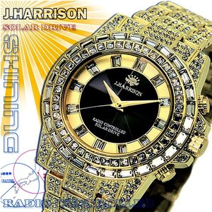 J.HARRISON ジョン・ハリソン 腕時計  シャニングソーラー 電波時計 クリスタルガラス J.H-025GB 金 メンズ 送料無料 fnetscom