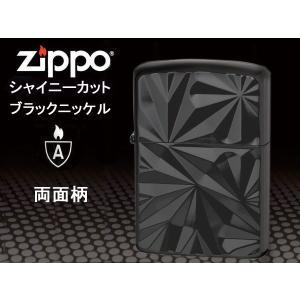 zippoライター アーマー シャイニーカット BNC ブラックニッケル 黒 両面加工|fnetscom