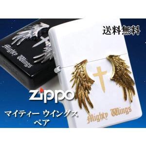 zippo ジッポー ライター ペア マイティウイングス ホワイト ブラック|fnetscom