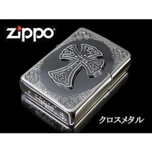 zippo ジッポー ライター レギュラー CROSS METAL クロスメタル CRS-M2 銀いぶし シルバー エッチング|fnetscom