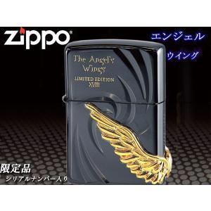 zippo ジッポー ライター レギュラー 限定シリアルナンバー入り ANGEL'S WINGS エンジェルウイング18 PAW-118BNG 黒 ゴールドメタル|fnetscom